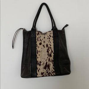 All Saints Black Leather Calf Hair Tote